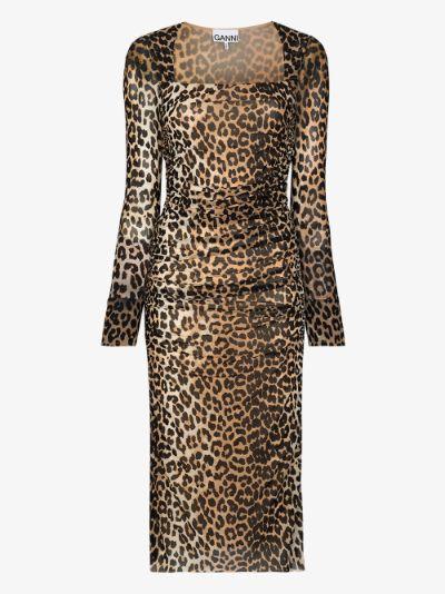 leopard print ruched midi dress