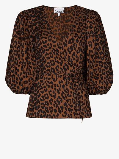 leopard print wrap blouse
