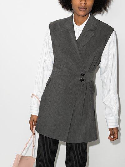 mélange belted suit gilet