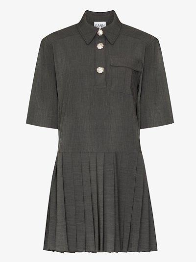 mélange suiting mini shirt dress