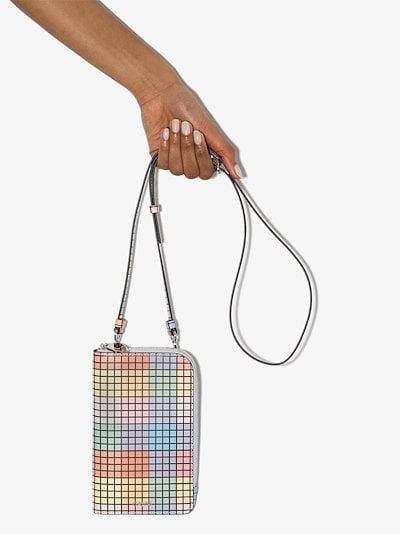 multicoloured grid zip-around clutch bag