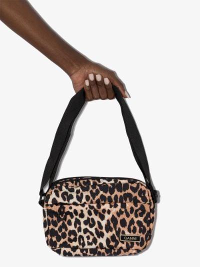 multicoloured leopard print cross body bag