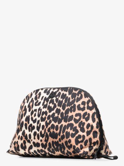multicoloured leopard print makeup bag