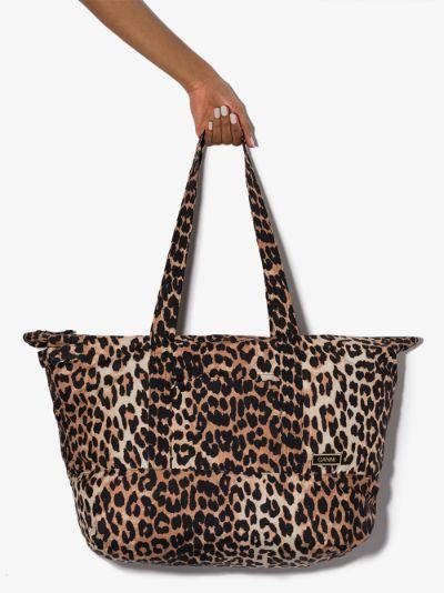 Multicoloured leopard print tote bag