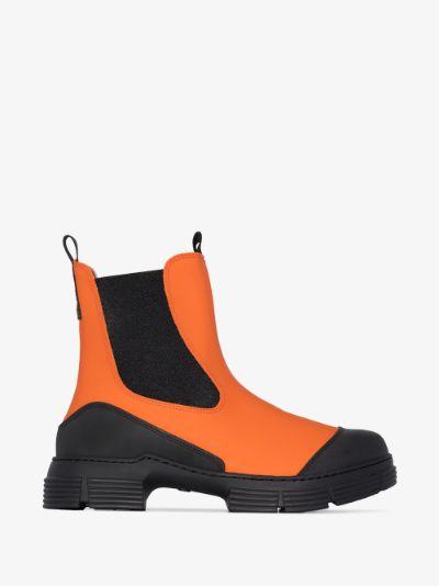 orange contrast panel ankle boots