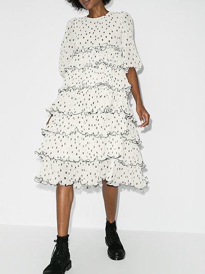 polka dot pleated tiered dress