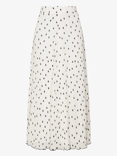 polka dot plissé midi skirt