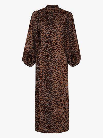 Pouf sleeve leopard print dress