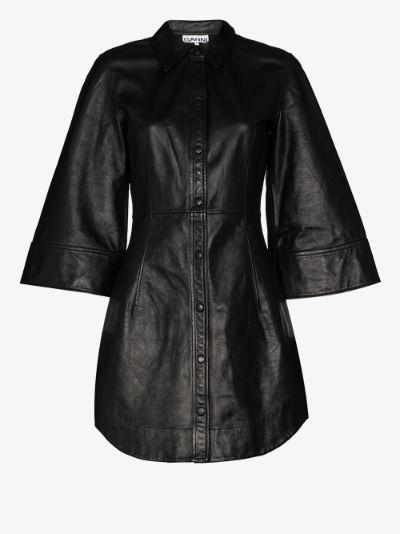 press stud leather shirt dress