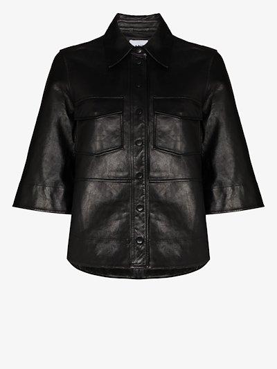 press stud leather shirt