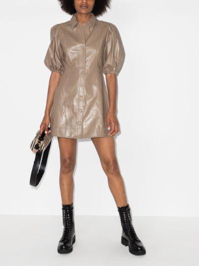 puff sleeve leather mini dress