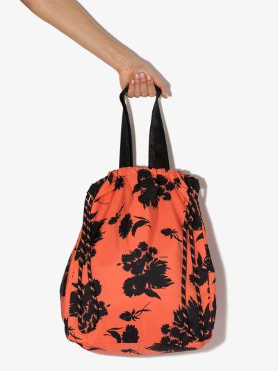 red Floral Print Drawstring Tote Bag