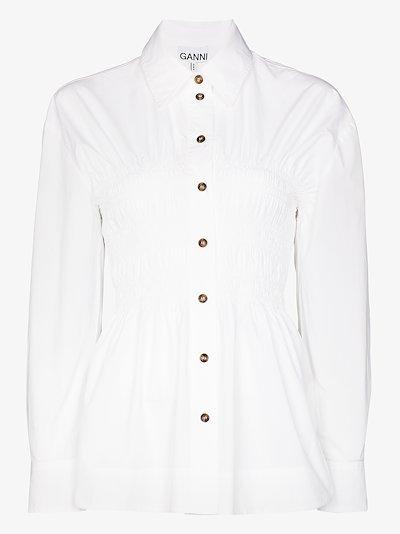 ruched cotton poplin shirt