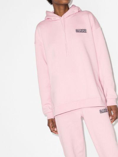 side-slit logo hoodie