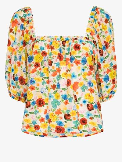Software floral print silk pyjama top