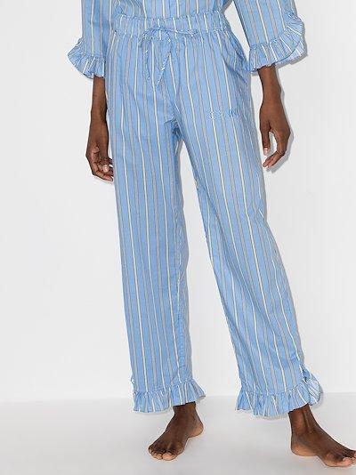 Software striped cotton pyjama bottoms
