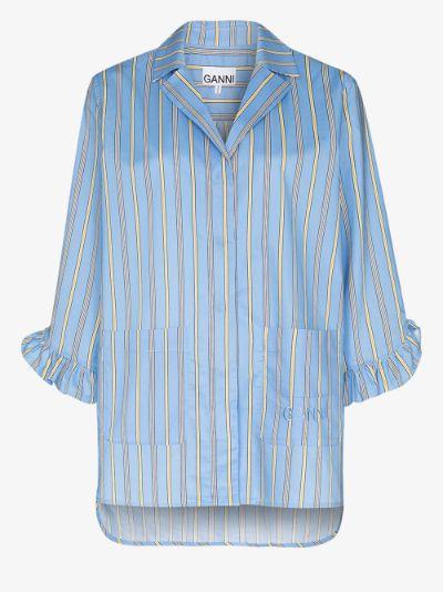 Software striped cotton pyjama shirt