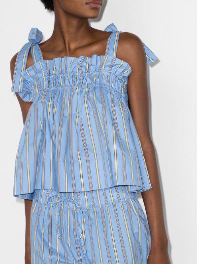Software striped smock pyjama top