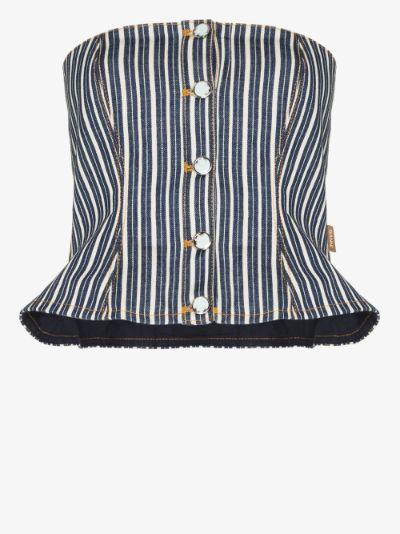 striped denim corset