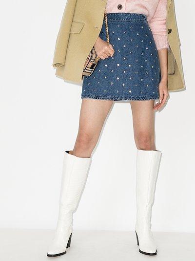studded denim mini skirt