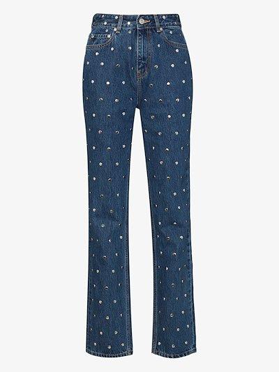 studded straight leg jeans
