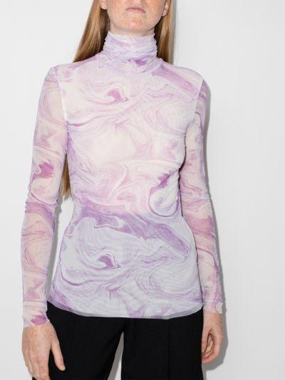 swirl print mesh top