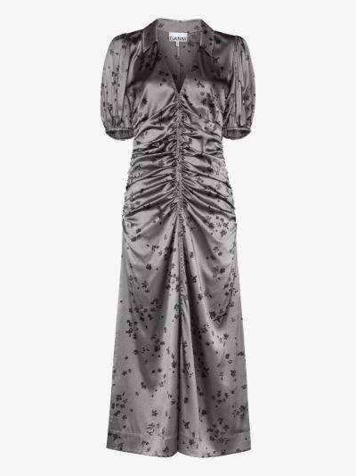 V-neck floral print midi dress