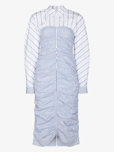 zip front striped shirt dress