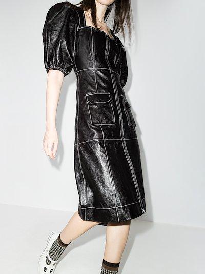 zip-up pouf sleeve dress