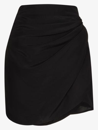 Nagato draped silk mini skirt