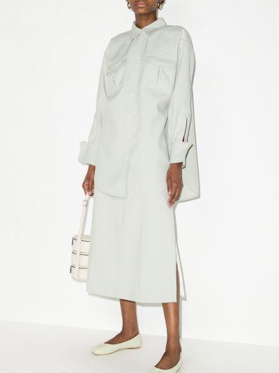 high waist A-line midi skirt