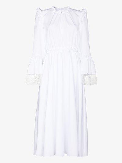 lace trim cotton midi dress