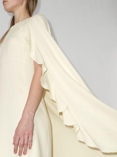 ruffle cape silk mini dress
