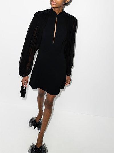 sheer sleeve mini dress