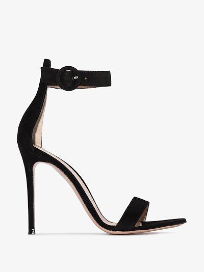 black 105 suede stiletto sandals