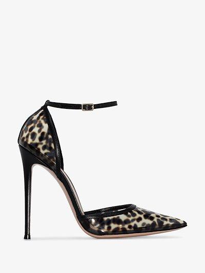 black 110 leopard print PVC pumps