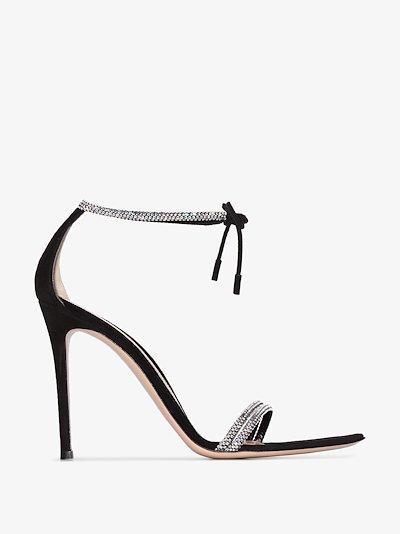 Black 115 crystal strap leather sandals
