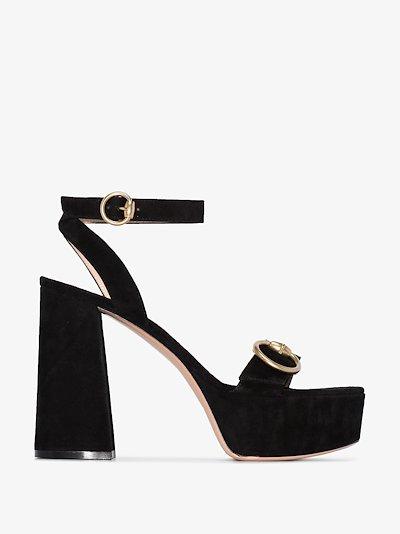 Black 70 Buckled platform heels