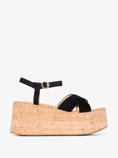black 70 suede cork platform sandals