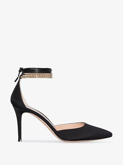 Black 85 chain ankle strap satin pumps