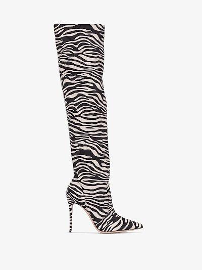 brown 100 zebra print knee-high boots