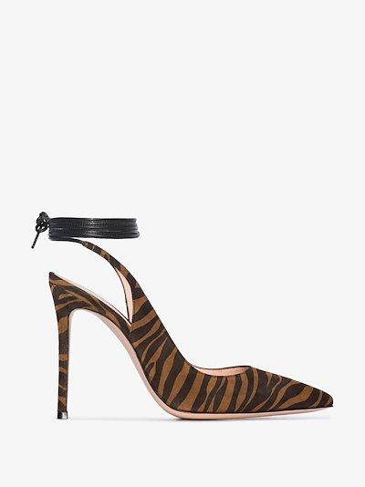 brown 105 zebra print ankle tie pumps
