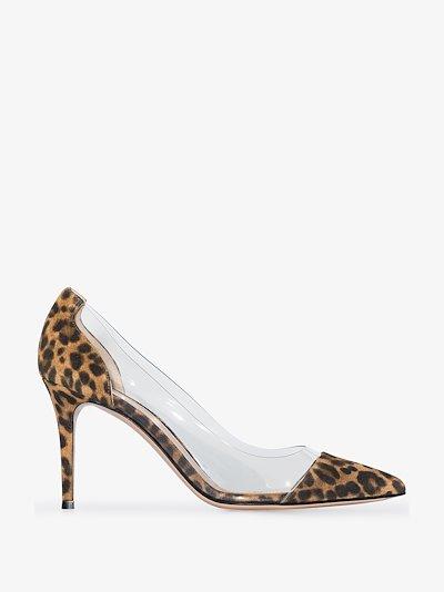 Brown Plexi 85 leopard print PVC pumps
