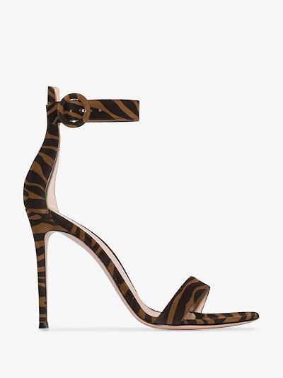 brown Portofino 105 zebra print suede sandals