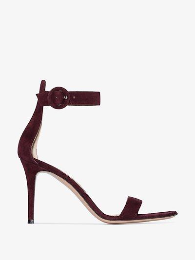 burgundy Portofino 85 suede sandals