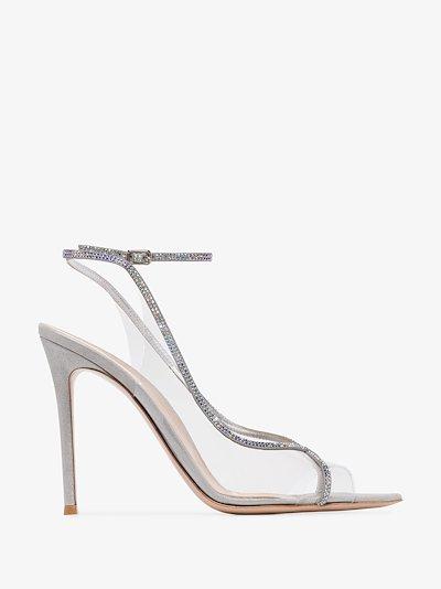 grey 115 crystal embellished sandals