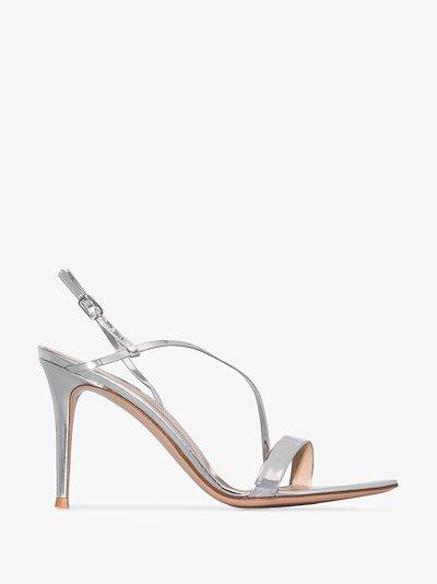 Silver Manhattan 85 metallic patent leather sandals