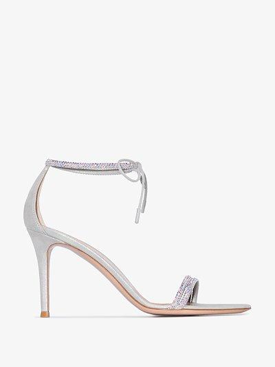 silver tone Pascale tie strap sandals