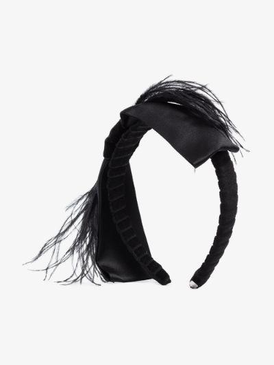 Black Bernadette feather headband