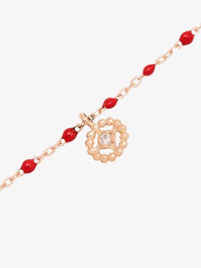 18K rose gold 17 CM beaded diamond bracelet